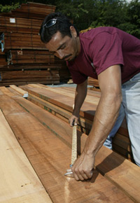 Picking lumber at J Gibson McIlvain