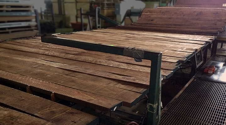 Walnut lumber being graded