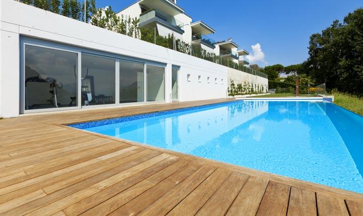 backyard wood deck around swimming pool